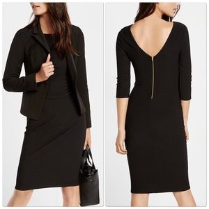 Express Black Ribbed Zip Back Midi Sheath Dress